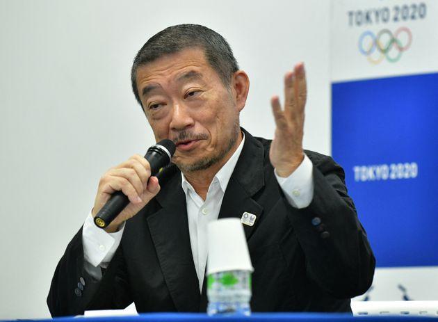 Hiroshi Sasaki lors d'une conférence de presse sur les Jeux Olympiques de Tokyo le 31 juillet