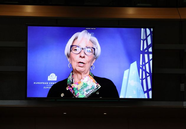 BRUSSELS, BELGIUM - MARCH 18: President of the European Central Bank Christine Lagarde is seen on screen...