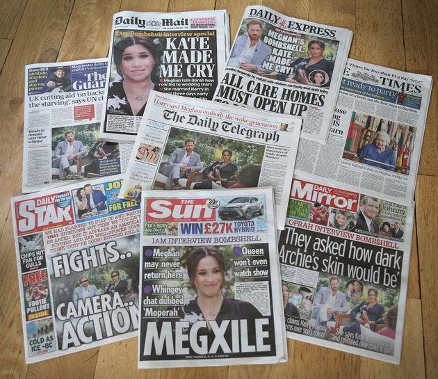 Las portadas de la prensa británica tras la entrevista de Oprah Winfrey a Harry y