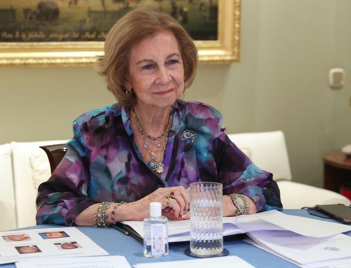 La reina Sofía en su despacho este miércoles.