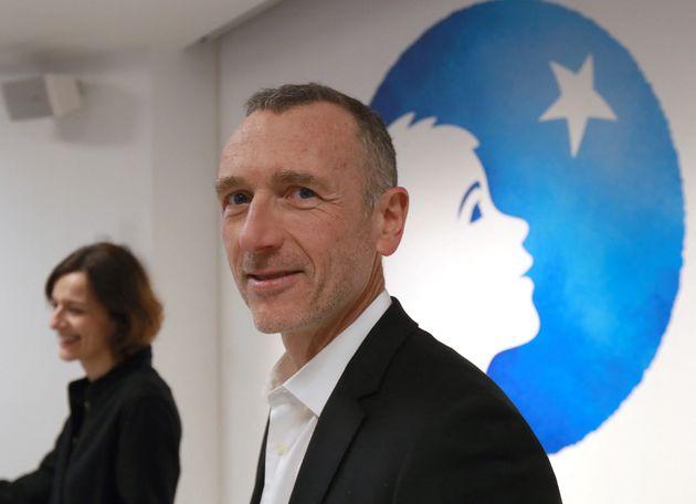 Le PDG de Danone Emmanuel Faber lors de la présentation des résultats annuels du groupe,...