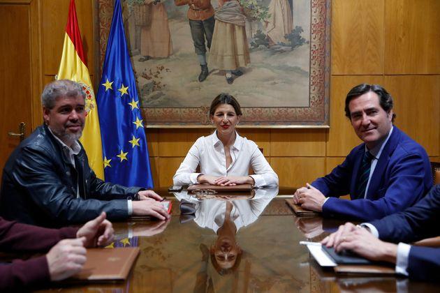 Unai Sordo, Yolanda Díaz y Antonio