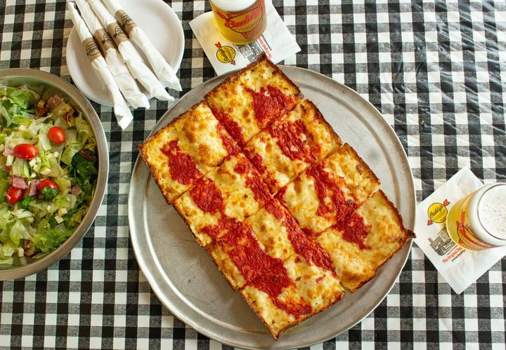 A classic rectangle from Buddy's Pizza, which is credited with making Detroit-style pizza famous in the 1940s.