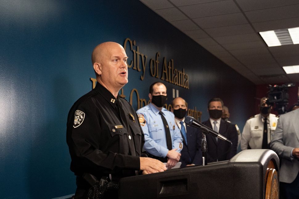 Capt. Jay Baker of the Cherokee County Sheriff's Office speaks at a press conference on March 17, 2021 in Atlanta after mass