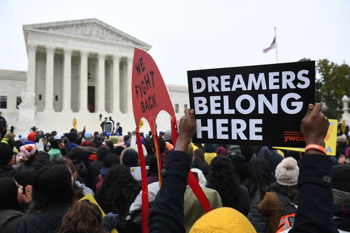 Immigration rights activists take part in a rally in front of the U.S. Supreme Court in Washington, D.C. on Nov. 12, 2019.
