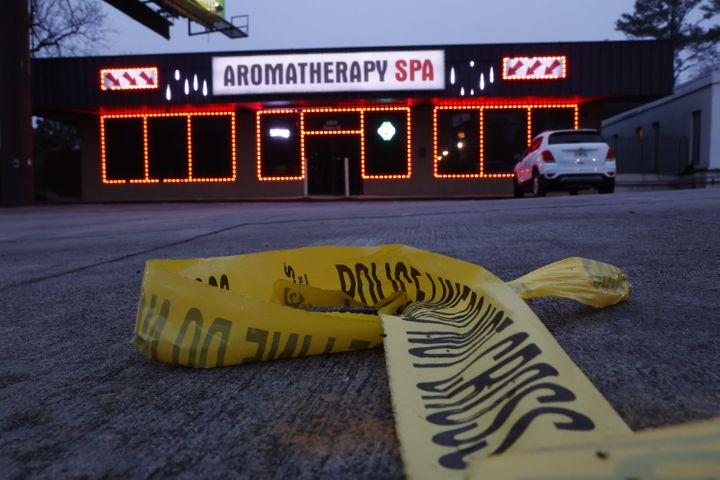ATLANTA, GEORGIA - MARCH 17: Aramotherapy Spa, one of three locations where deadly shootings happened yesterday at three day