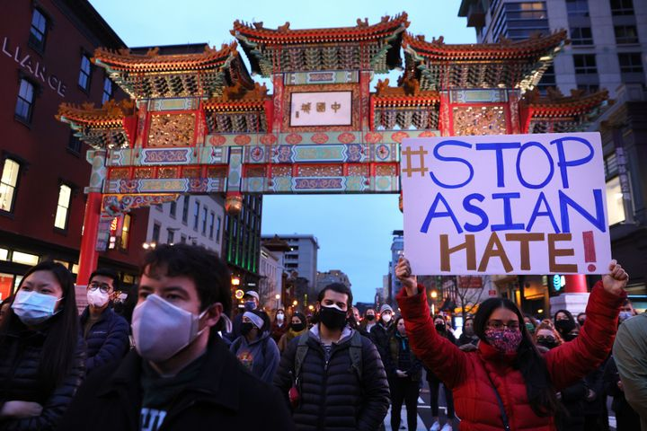 A vigil in response to the Atlanta spa shootings on March 17, 2021 in the Chinatown area of Washington, D.C.