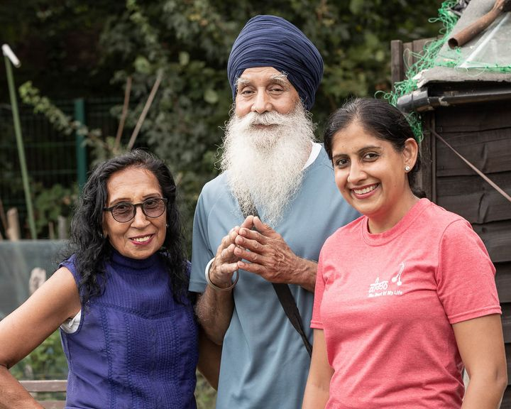 """My dad is <a href=""https://www.huffingtonpost.co.uk/entry/skipping-sikh-exercise-during-self-isolation_uk_5e87317dc5b6d302366ea76c"">The Skipping Sikh</a> [who encouraged the world to stay active during lockdown and raised more than &pound;14,000 for the NHS]. We spent time at the allotment during&nbsp;Vaisakhi skipping, and had this picture taken by photographer Sian Tyrell who wanted to say thank you for everything my dad has done. We shared our crops with Sian, as Sikhs we like to give back. We made food here, we watered the crops and also meditated. We felt really sad that we couldn't celebrate with the community and it felt strange not being able to go to the Gurdwara as every Vaisakhi we always go. But I will never forget this picture as it's special, my parents are older and to spend the time with them in lockdown and for Vaisakhi is something to cherish."" &ndash;&nbsp;Minreet Kaur, 40, Harlington, Middlesex."