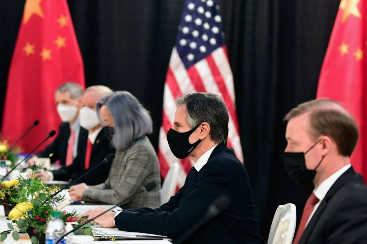 The U.S. delegation led by Secretary of State Antony Blinken (C), flanked by US National Security Advisor Jake Sullivan (R),