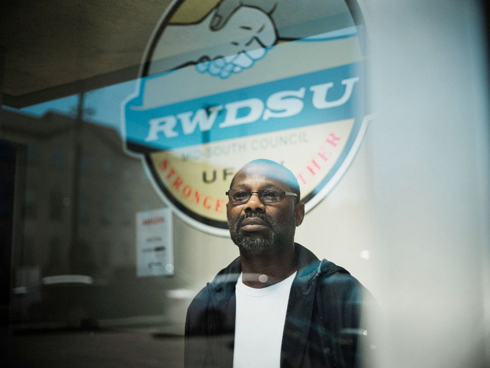 Darryl Richardson, one of the organizers working to unionize his Amazon warehouse, at the Retail, Wholesale and Departme