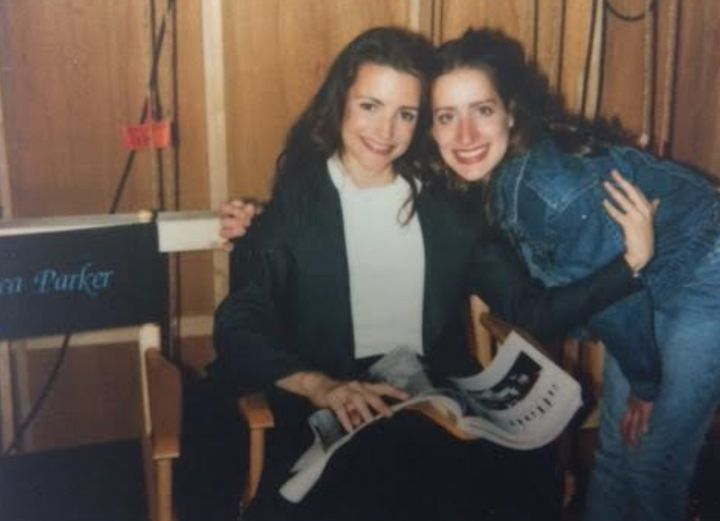 """The author with Kristin Davis on the set of """"Sex and the City."""""""