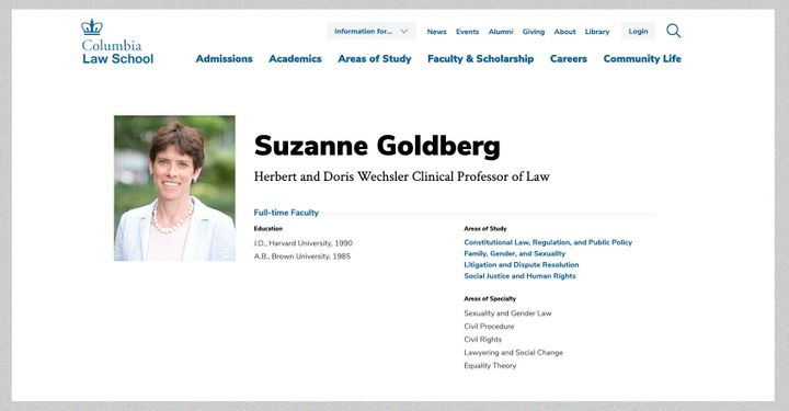 Suzanne Goldberg's areas of expertise and study, as listed on Columbia Law School's website.