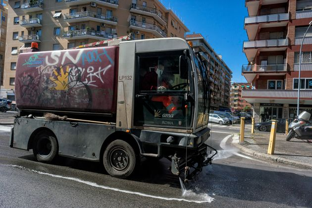 ROME, ITALY - APRIL 26: A worker drives a truck of the Ama S. p. A. (the Municipal Environment Company...