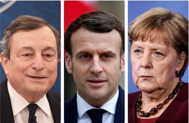Mario Draghi, Emmanuel Macron e Angela