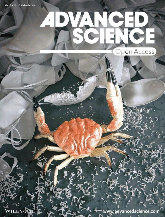 한국화학연구원 연구팀이 100% 자연분해되면서 숨쉬기 편하고 반복 사용 가능한 마스크 필터를 개발했다. 연구논문이 국제학술지 '어드밴스트 사이언스' 표지로
