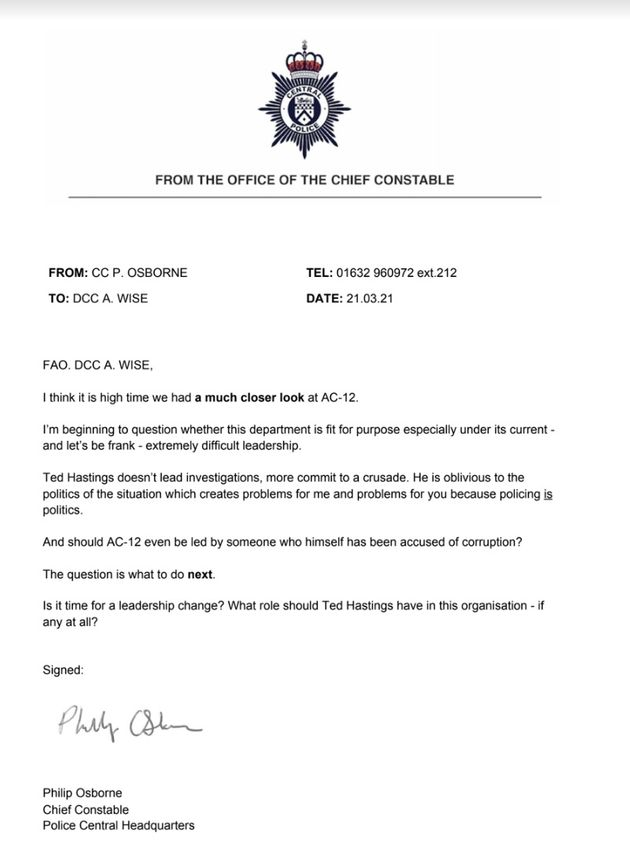 Could this letter mean Hastings is replaced as the boss of