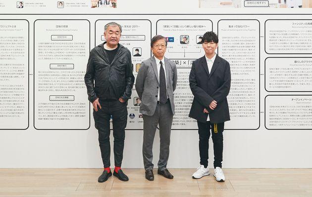 (写真左から)プロジェクトでディレクターアーキテクトを務める、建築家の隈研吾さん、UR都市機構理事長の中島正弘さん、プロジェクトディレクターの佐藤可士和さん。(2021年3月2日、東京都港区の国立新美術館)