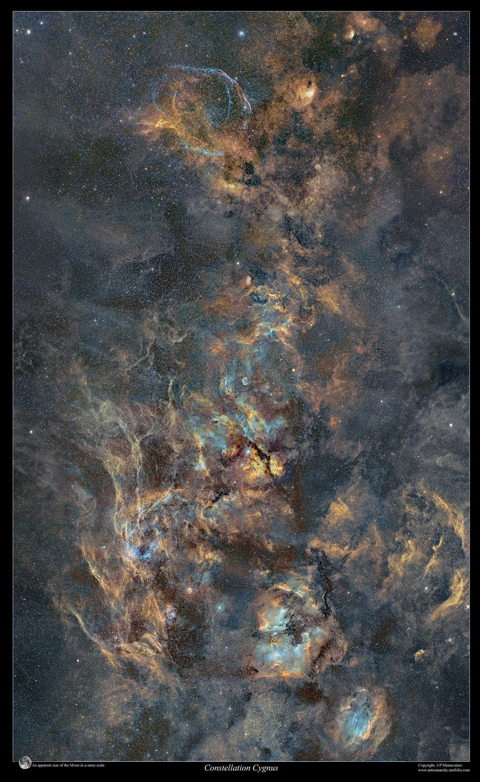 모자이크 사진 오른쪽 끝부분의 백조자리의 별들. 2010~2020년 총 400시간에 걸쳐 찍은 것으로 500만개의 별이 담겨 있다고 한다.