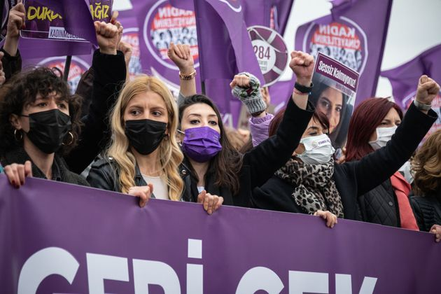 On 20 March 2021, demonstrators gathered in the Kadikoy district of Istanbul, Turkey, to protest against...