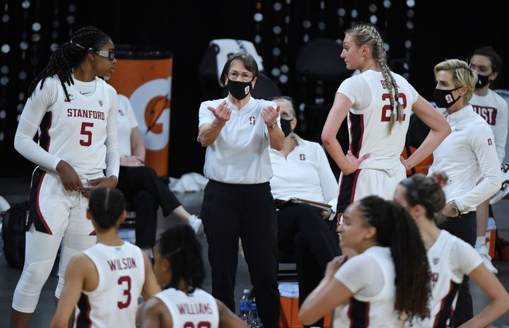 """Stanford head coach Tara VanDerveer, pictured with her players during the Pac-12 tournament, accused the NCAA of """"blatant sex"""