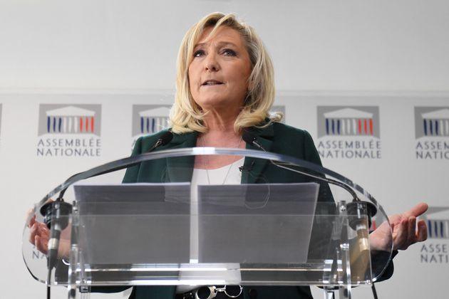 Marine Le Pen, présidente du parti d'extrême-droite le Rassemblement national. Le 9 mars...