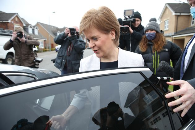 First Minister of Scotland, Nicola Sturgeon, leaves her home in Glasgow. Picture date: Monday March 22,