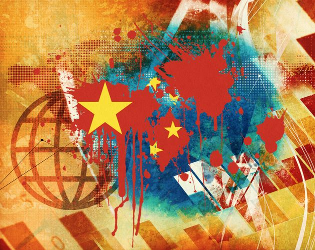 Chinese flag graphic abstract
