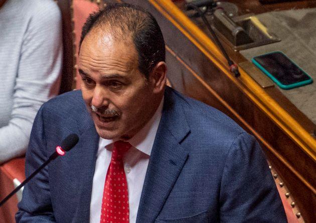 L'intervento del capogruppo dell Pd, Andrea Marcucci, alla ripresa dei lavori al Senato, Roma, 7 ottobre...