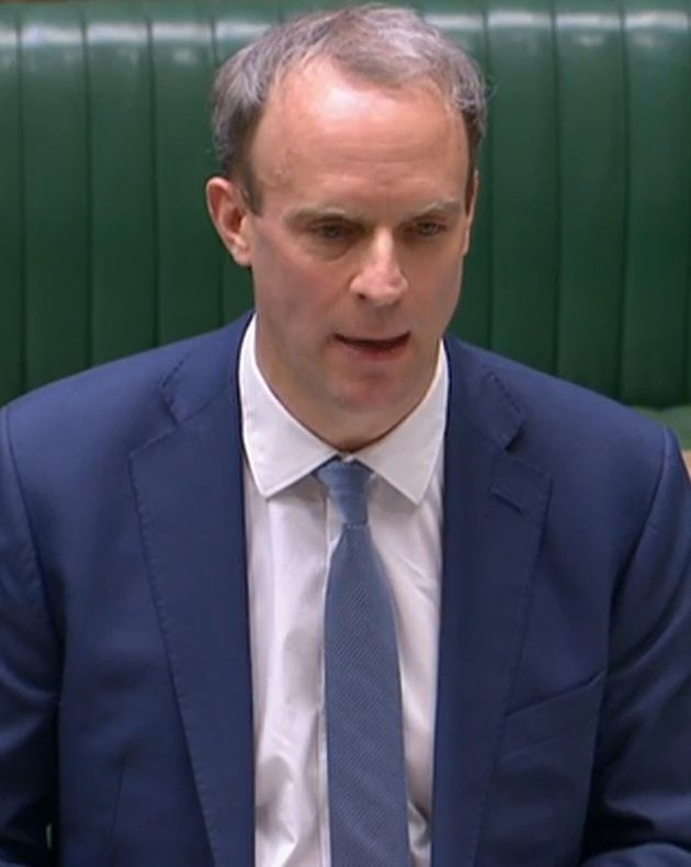 Foreign secretary Dominic Raab during the Commons