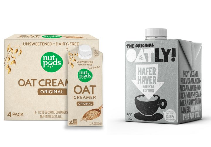 Oat milk-based coffee creamers from NutPods and Oatly.