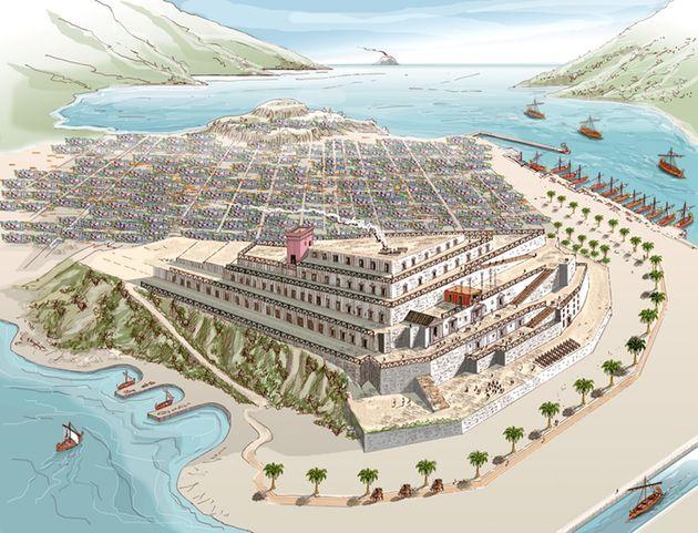 Reconstrucción idealizada del palacio de Asdrúbal en Cartagena que aparece en el libro de Iván