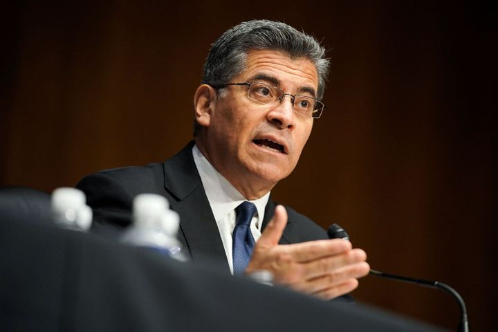 Xavier Becerra, then the nominee for secretary of health and human services, answered questions during his Senate Finance Com