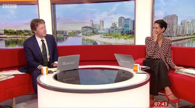 Charlie Stayt and Naga Munchetty in the BBC Breakfast