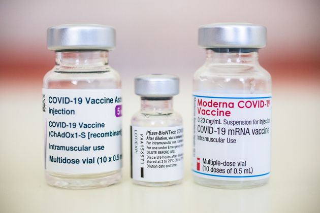 SLOVENIA - 2021/02/15: In this photo illustration vials containing Pfizer-BioNtech, Moderna and AstraZeneca...