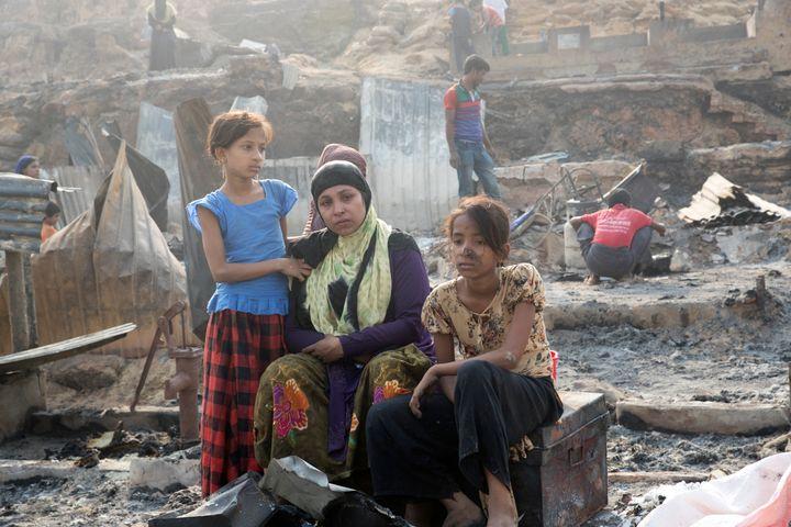 UKHIA, COX'S BAZAR, BANGLADESH - 2021/03/23: A huge fire swept through a Rohingya refugee camp in southern Bangladesh on Mond