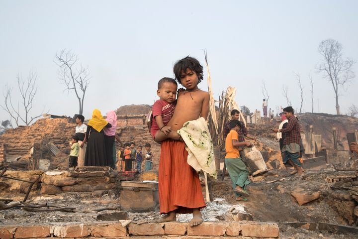 UKHIA, BANGLADESH - 2021/03/23: Rohingya children under an open sky after a huge fire swept through a Rohingya refugee camp i