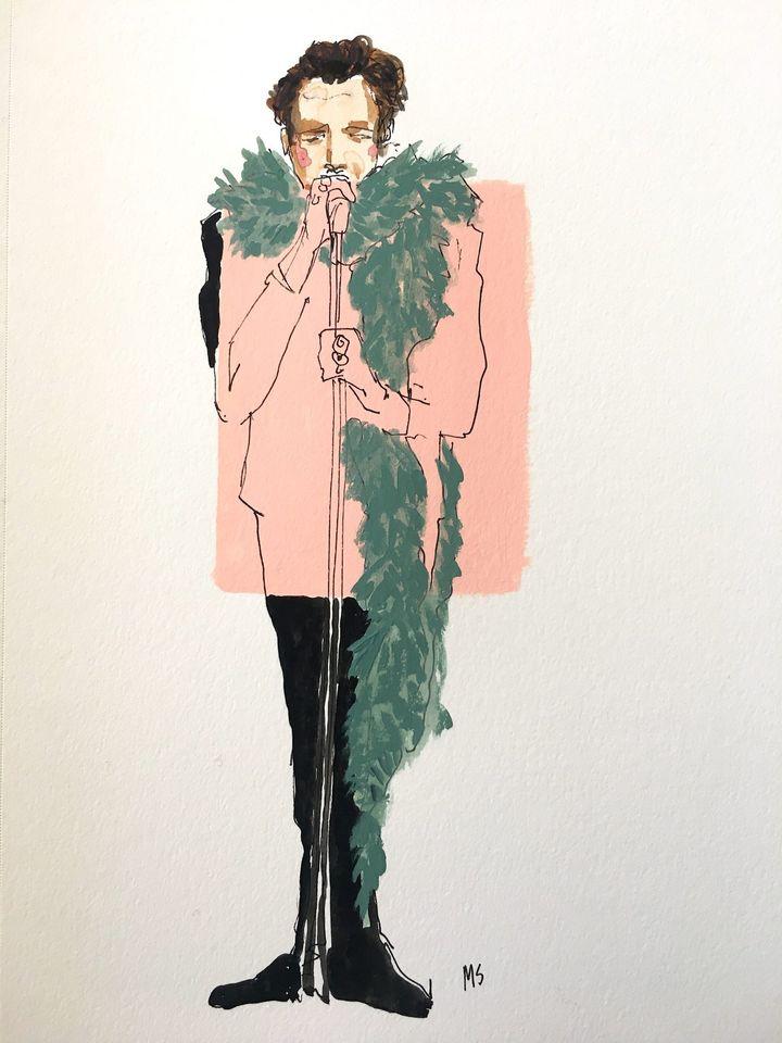 Ilustración del cantante Harry Styles de Manuel Santelices.