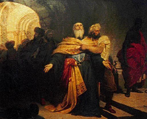 «Ο Πατριάρχης Γρηγορίος Ε΄ συρόμενος στην αγχόνη», Λεπτομέρεια από τον πίνακα του Νικηφόρου