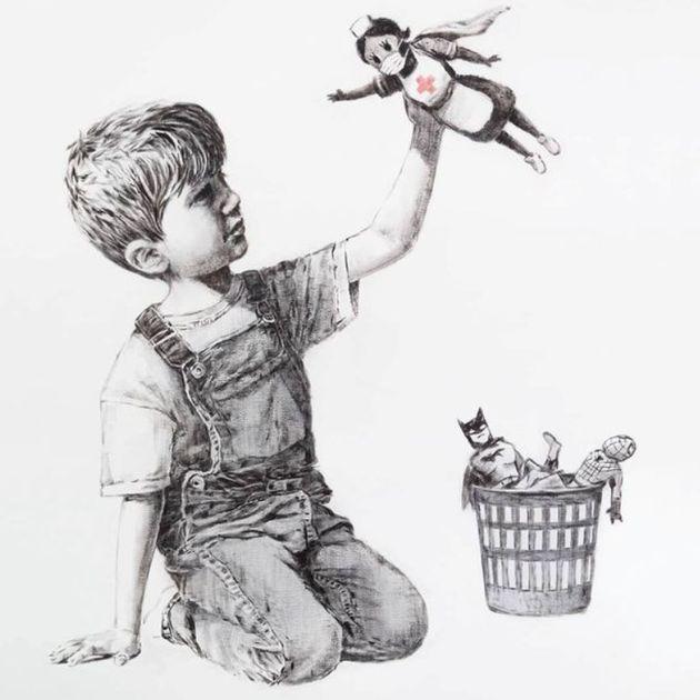Opera di Banksy venduta a 16 milioni di sterline. Il ricavato andrà al servizio sanitario britannico