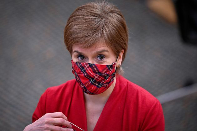 First Minister Nicola Sturgeon at the Scottish Parliament in Holyrood,