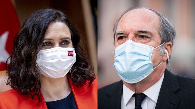 La presidenta de la Comunidad de Madrid y candidata del PP, Isabel Diaz Ayuso, y el candidato del PSOE,...
