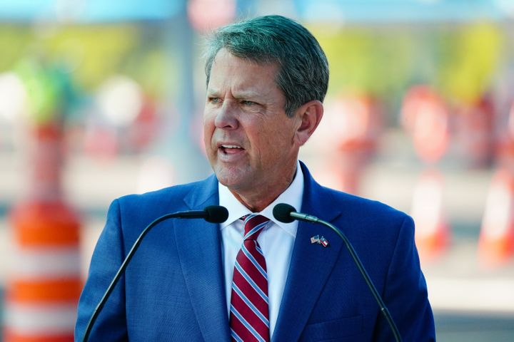 Georgia Governor Brian Kemp (R) speaks during a press conference announcing expanded statewide COVID-19 testing on Aug. 10, 2