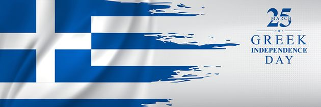 The Greek flag. Vector 25 march 1821 Independence day of