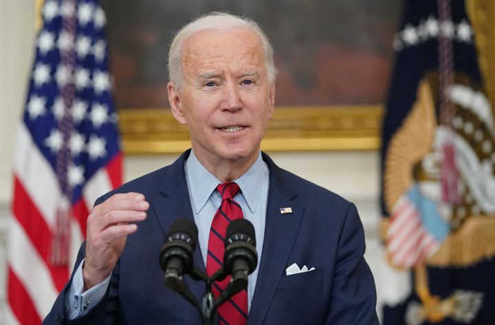 President Joe Biden speaks about the mass shooting at a grocery store in Colorado on Monday, calling for a ban on assault wea
