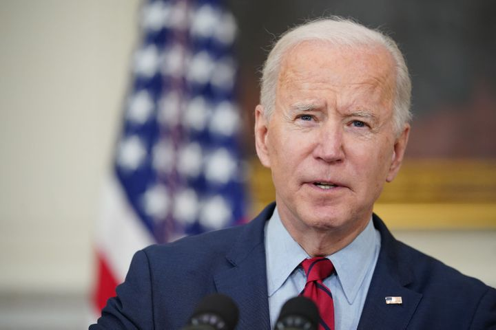 President Joe Biden speaks about the Colorado shootings in the State Dining Room of the White House in Washington, D.C., on M