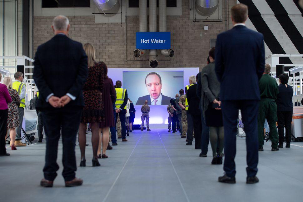 Health secretary Matt Hancock speaking via videolink at the opening of the NHS Nightingale Birmingham,...
