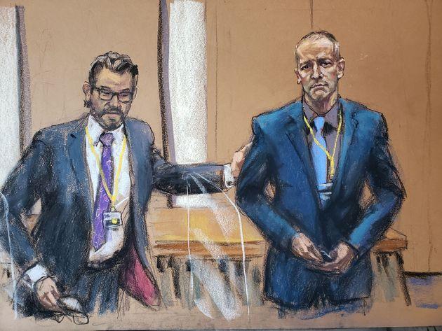 Derek Chauvin, ici dessiné à droite, va être jugé pour le meurtre de George Floyd, un quadragénaire afro-américain...