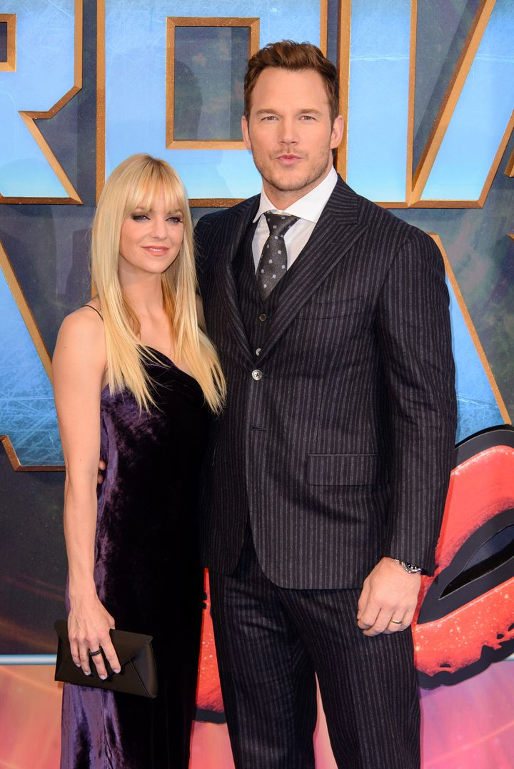 """Anna Faris and Chris Pratt at a 2017 screening for """"Guardians of the Galaxy Vol. 2."""""""