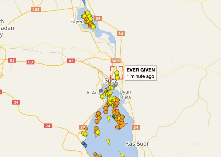 This screenshot from 4:20 a.m. Wednesday, Cairo time, on the ship tracking website Vessel Finder, shows the traffic jam in th