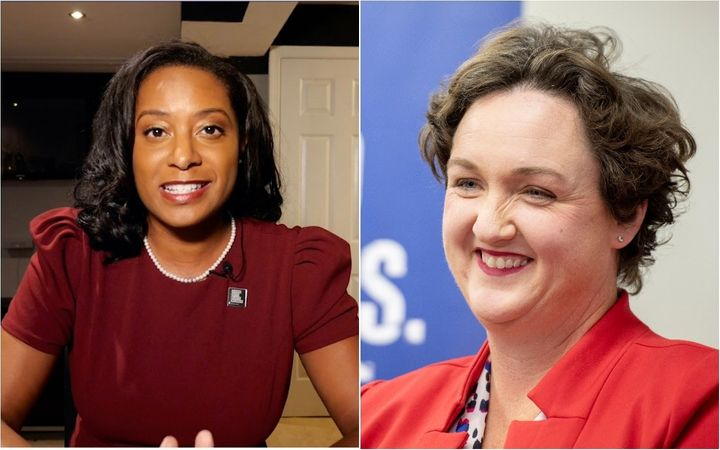 "Rep. Katie Porter (D-Calif.), right, called Jennifer Carroll Foy a ""once-in-a-lifetime candidate."" She is the second member o"